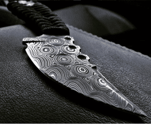 A knife made with Typhoon Damascus from Vegas Forge